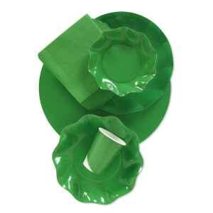 Piatti Piani di Carta a Petalo Verde Prato 32,4 cm Extra