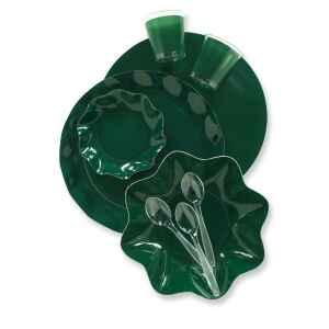 Extra Piatti Piani di Carta a Petalo Verde Scuro 27 cm