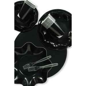 Piatti Piani di Carta a Petalo Nero 32,4 cm Extra