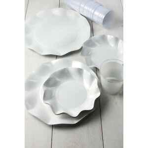 Extra Piatti Piani di Carta a Petalo Bianco Perlato 24 cm