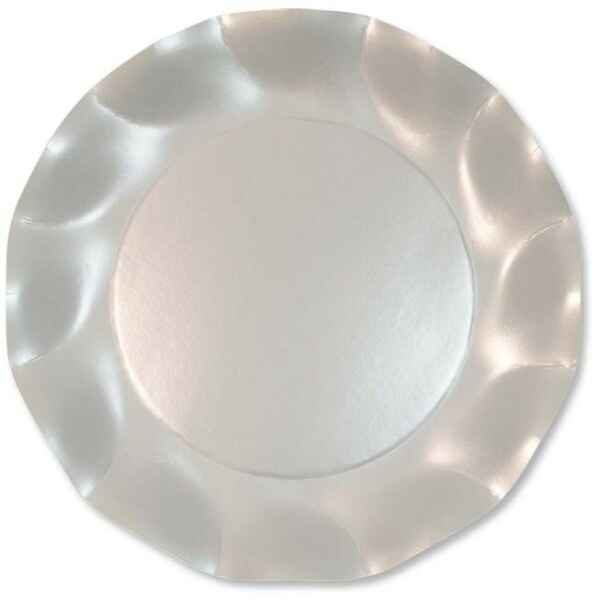 Extra Piatti Piani di Carta a Petalo Bianco Perlato 21 cm