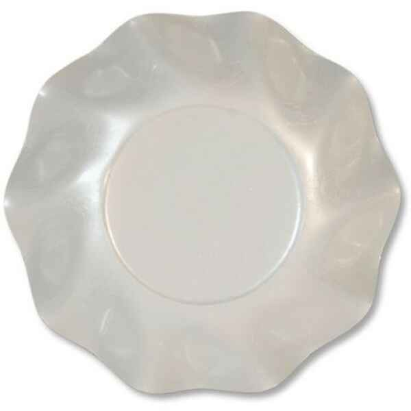Piatti Fondi di Carta a Petalo Bianco Perlato 18,5 cm Extra