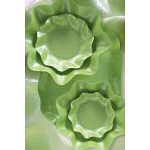 Piatti Piani di Carta a Petalo Verde chiaro Perlato 32,4 cm Extra