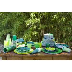 Piatti Fondi di Carta a Petalo Verde chiaro Perlato 18,5 cm Extra