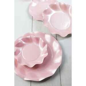 Extra Piatti Piani di Carta a Petalo Rosa Perlato 21 cm