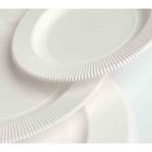 Piatti Piani di Carta Compostabile Opaco a Righe Bianco 21 cm Extra