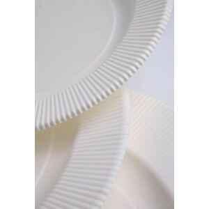 Piatti Fondi di Carta Compostabile Opaco a Righe Bianco 25,5 cm Extra