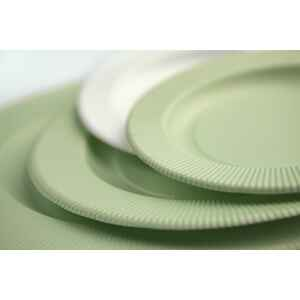 Piatti Piani di Carta Opaco a Righe Verde Salvia 27 cm Extra