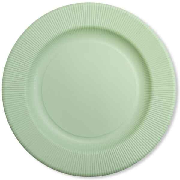 Piatti Piani di Carta Opaco a Righe Verde Salvia 32,4 cm Extra