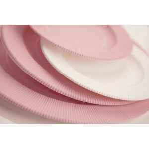Piatti Piani di Carta Opaco a Righe Rosa Quarzo 21 cm Extra