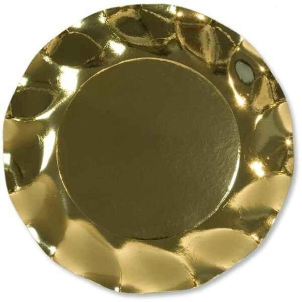 Extra Piatti Piani di Carta a Petalo Oro Metallizzato Lucido 24 cm
