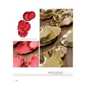 Piatti Piani di Carta a Petalo Oro Metallizzato Lucido 32,4 cm Extra
