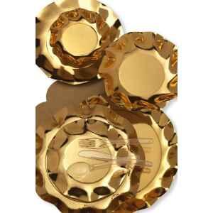 Extra Piatti Fondi di Carta a Petalo Oro Metallizzato Lucido 24 cm