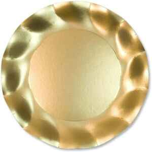 Piatti Piani di Carta a Petalo Oro Metallizzato Satinato 27 cm Extra