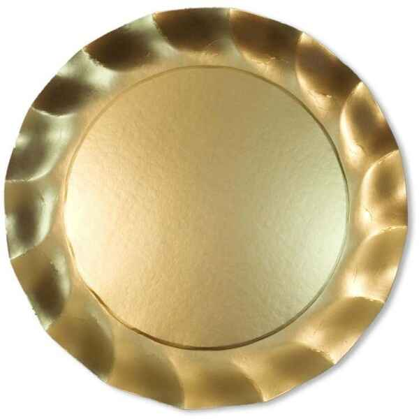 Piatti Piani di Carta a Petalo Oro Metallizzato Satinato 32,4 cm Extra