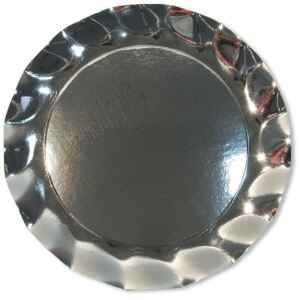 Extra Piatti Piani di Carta a Petalo Argento Metallizzato Lucido 24 cm