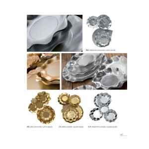 Piatti Piani di Carta a Petalo Argento Metallizzato Lucido 27 cm Extra