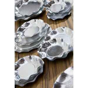 Extra Piatti Fondi di Carta a Petalo Argento Metallizzato Lucido 24 cm