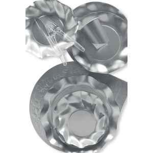 Extra Piatti Piani di Carta a Petalo Argento Metallizzato Satinato 24 cm