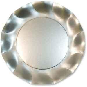 Piatti Piani di Carta a Petalo Argento Metallizzato Satinato 27 cm Extra
