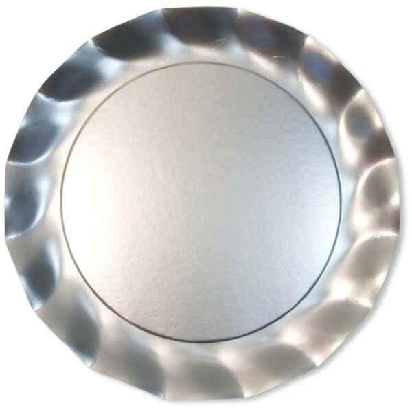 Piatti Piani di Carta a Petalo Argento Metallizzato Satinato 32,4 cm Extra