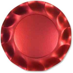 Piatti Piani di Carta a Petalo Rosso Metallizzato Satinato 27 cm Extra