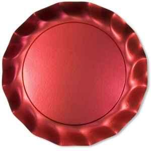 Piatti Piani di Carta a Petalo Rosso Metallizzato Satinato 32,4 cm Extra