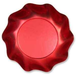 Extra Piatti Fondi di Carta a Petalo Rosso Metallizzato Satinato 24 cm