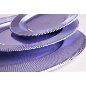 Piatti Piani di Carta a Righe Lavanda Metallizzato 32,4 cm Extra