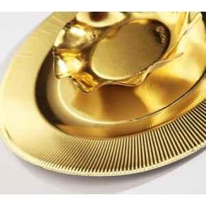 Extra Piatti Piani di Carta a Righe Oro Metallizzato Lucido 27 cm
