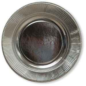 Piatti Piani di Carta a Righe Argento Metallizzato Lucido 32,4 cm Extra