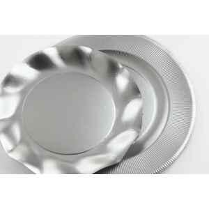 Extra Piatti Piani di Carta a Righe Argento Metallizzato Satinato 27 cm