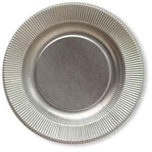 Piatti Piani di Carta a Righe Argento Metallizzato Satinato 32,4 cm Extra