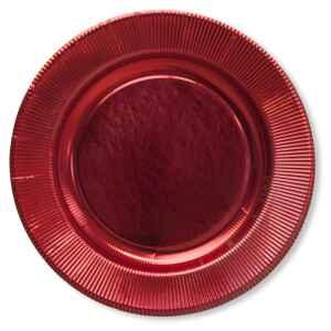 Extra Piatti Piani di Carta a Righe Rosso Metallizzato Lucido 27 cm