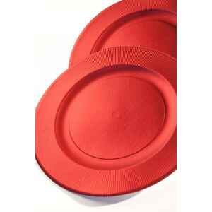 Piatti Piani di Carta a Righe Rosso Metallizzato Satinato 32,4 cm Extra
