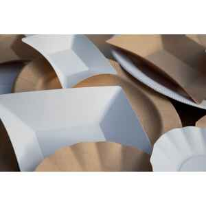 Piatti di Carta Quadrati Grandi Compostabile Wasabi Bianco 19,8 x 19,8 cm Extra
