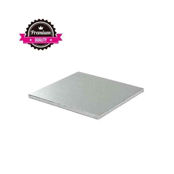 Sottotorta - Vassoio Rigido Quadrato Argento H 1,2 cm 25 x 25 cm