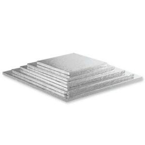 Sottotorta - Vassoio Rigido Quadrato Argento H 1,2 cm 35 x 35 cm