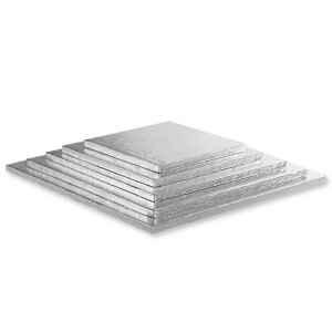 Sottotorta - Vassoio Rigido Quadrato Argento H 1,2 cm 55 x 55 cm