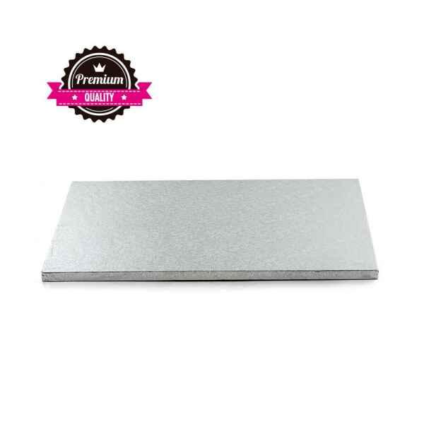 Sottotorta - Vassoio Rigido Rettangolare Argento H 1,2 cm 40 x 50 cm