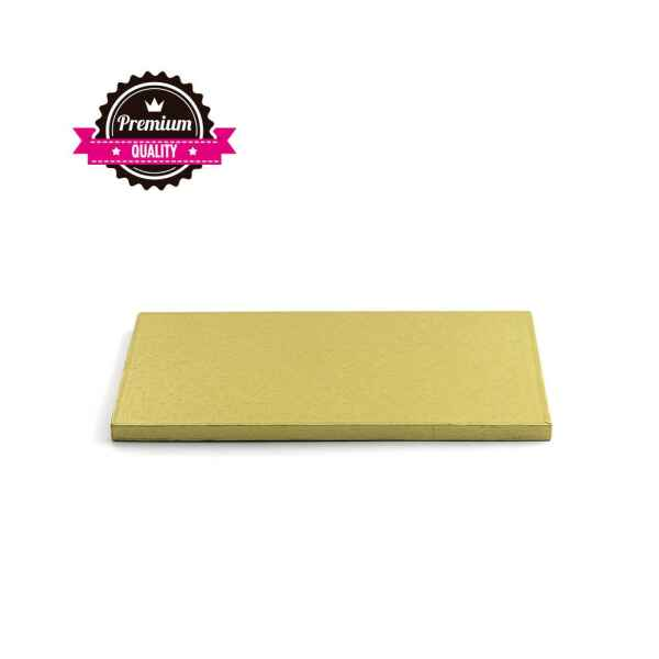 Sottotorta - Vassoio Rigido Rettangolare Oro H 1,2 cm 20 x 30 cm
