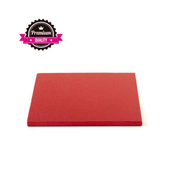 Sottotorta - Vassoio Rigido Quadrato Rosso H 1,2 cm 20 x 20 cm