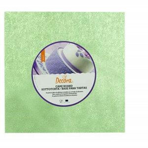 Sottotorta - Vassoio Rigido Quadrato Verde Chiaro H 1,2 cm 25 x 25 cm