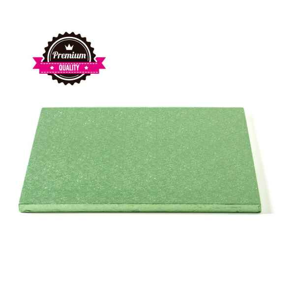 Sottotorta - Vassoio Rigido Quadrato Verde Chiaro H 1,2 cm 35 x 35 cm