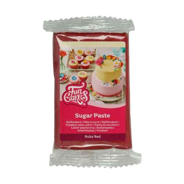 Pasta di Zucchero Fondant Rosso Rubino 250 g Senza Glutine FunCakes