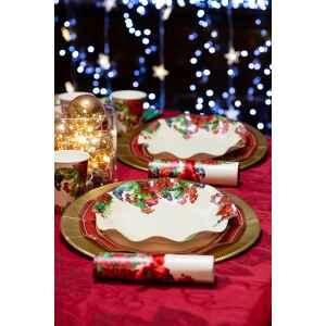 Piatti Piani di Carta a Petalo Christmas Fruit 21 cm Extra