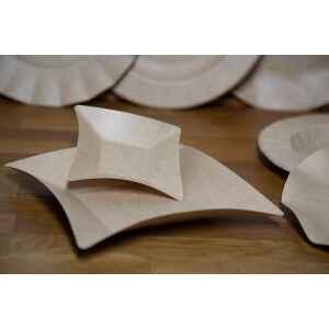 Piatti di Carta Quadrati Coppette Compostabile Wasabi Kraft 11,6 x 11,6 cm Extra